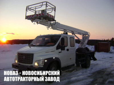АВТОГИДРОПОДЪЕМНИК КЭМЗ ТА-22 НА ШАССИ ГАЗ-C42R33 (4Х2), ДВУХРЯДКА, СТРЕЛА ВПЕРЕД