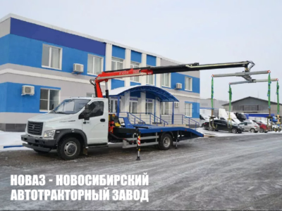 Эвакуатор ломаная платформа с КМУ на шасси Газон Некст